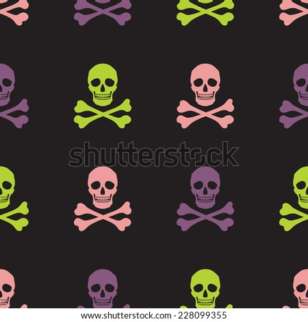 Simple human skull and crossbones seamless pattern, vector background