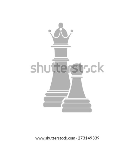 Simple icon chess pawn with the queen. - stock vector