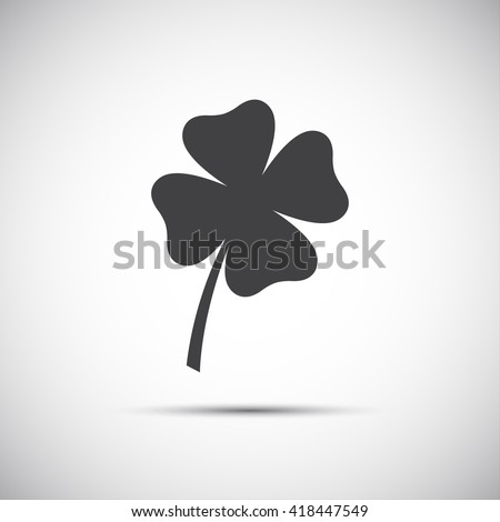 Simple icon clover leaf, four leaf clover vector illustration - stock vector