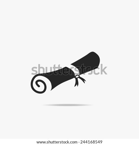 Simple icon diploma. - stock vector