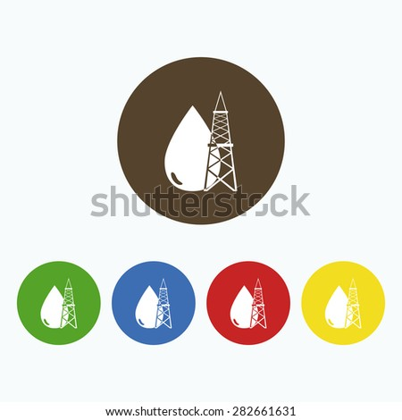 Simple icon drop of oil and tower. - stock vector