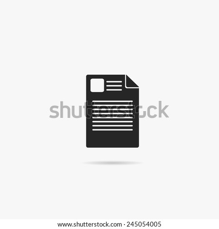 Simple icon note paper. - stock vector