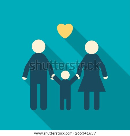 Simple Icon of a Happy Family, Father, Mother, Child. Flat design Vector Illustration - stock vector