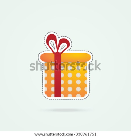 Simple icon of gift with bow. - stock vector