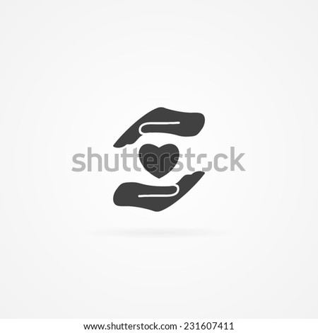 Simple icon of heart in hand. White background and shadow.  - stock vector