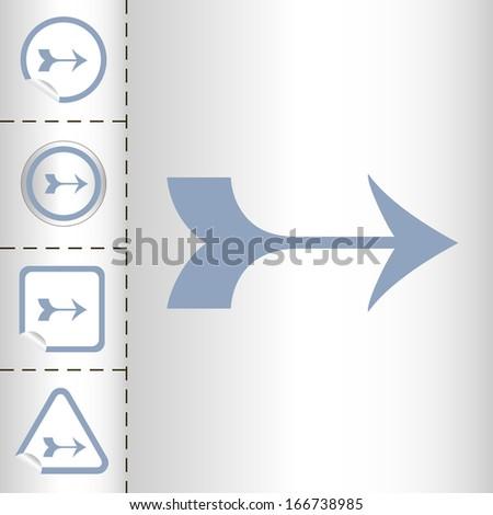 simple icon set of arrows on sticker button different forms in modern style. eps10 vector illustration