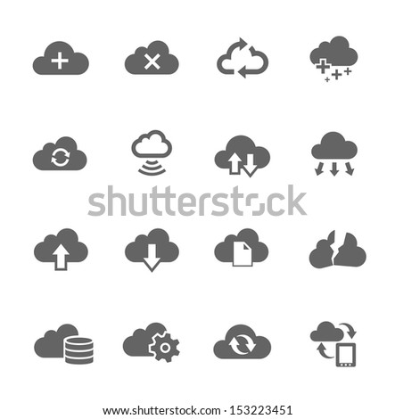 Simple Icon set related to computing cloud - stock vector