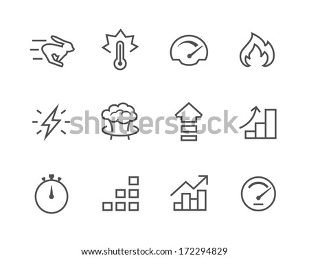 Simple Icon set related to Performance - stock vector