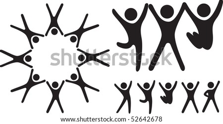 Simple icon type characters as a group and happy emotions - stock vector