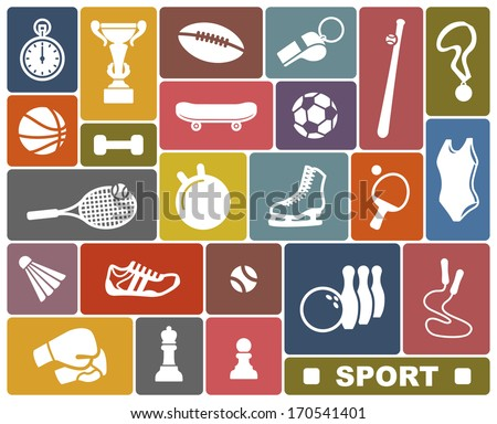 Simple icons of the sports goods and accessories - stock vector