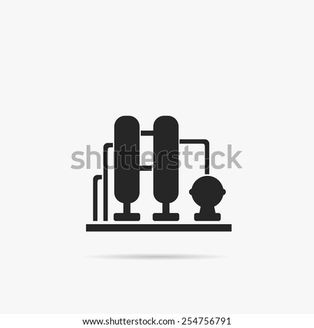 Simple icons Oil refining factory. - stock vector