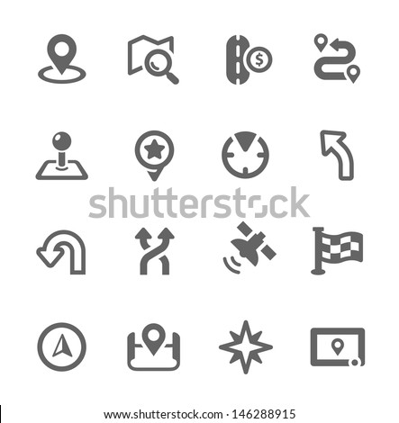 Simple Icons related to Navigation. - stock vector