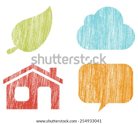 Simple Icons - Set of 4 icons with a crayon texture. Colors are global and can be easily edited. - stock vector