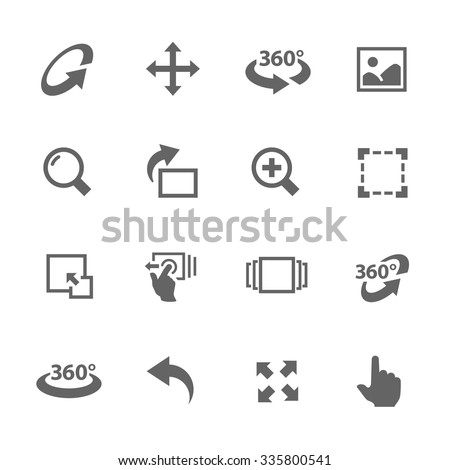 Simple Icons Set with Gray Design Elements of Image Manipulations, Scrolling, Rotating, Zooming, Expanding and more. Modern vector pictogram collection. - stock vector