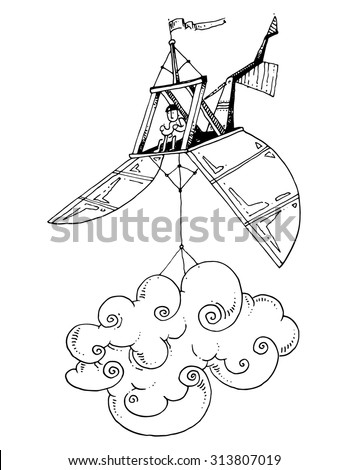 simple illustration flying machine carrying a cloud - stock vector