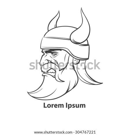 simple illustration for logo, viking head, profile view, sport team - stock vector