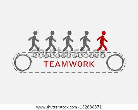 simple illustration of teamwork - stock vector