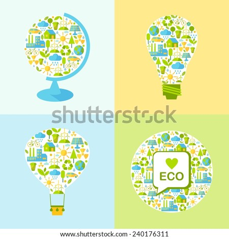 Simple illustration with balloon, lamp, globe and many icons on nature theme  - stock vector
