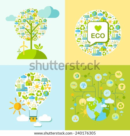 Simple illustration with balloon, tree, globe and many icons on nature theme  - stock vector