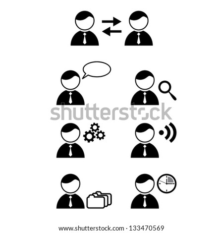 Simple info graphic with businessman. Social media data summary. Vector illustration - stock vector