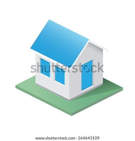 Simple isometric illustration of a house - stock vector