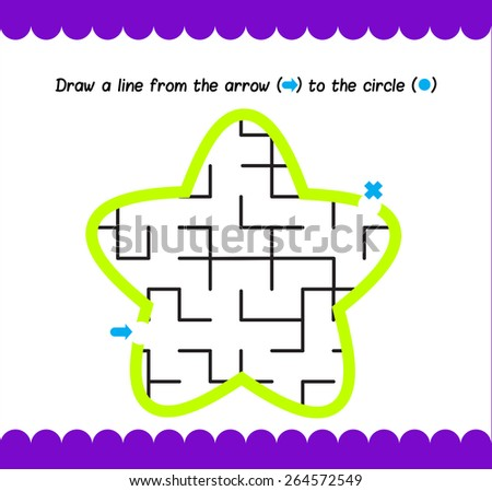 Simple kids maze star. Activity pages with kids - stock vector