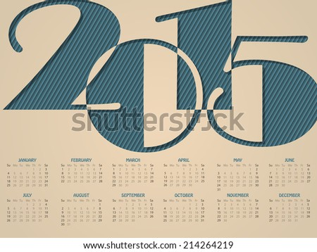 Simple landscape calendar design for the year 2015 - stock vector
