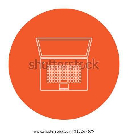 Simple Laptop. Flat outline white pictogram in the orange circle. Vector illustration icon