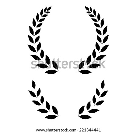 simple laurel wreath -  round and half for main emblem and bottom. Vector format, fully editable, you can change form and color. - stock vector