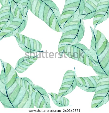 Simple leaves background. Spring branches and leaves. Vectorized watercolor drawing. - stock vector