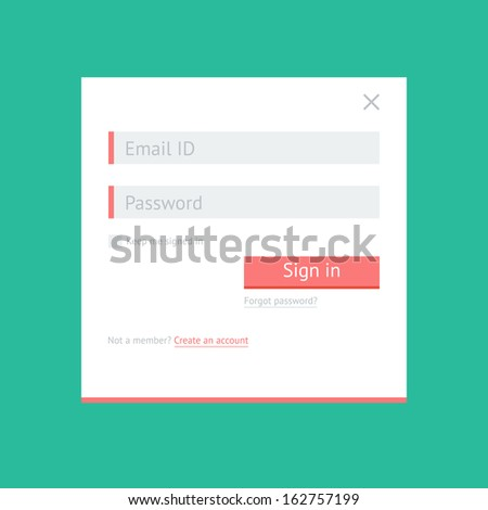 Simple light flat login form for web and mobile applications - stock vector