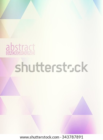 Simple light violet hipster background with transparent triangles. Subtle vector graphic pattern - stock vector