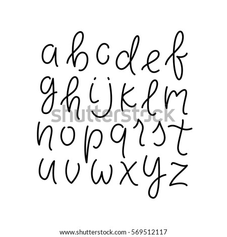 Simple Line Alphabet Thin Lowercase Typeface Font Cursive Lettering Abc Vector