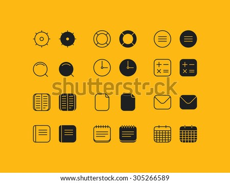 Simple line and solid general icons set for web and mobile devices - stock vector