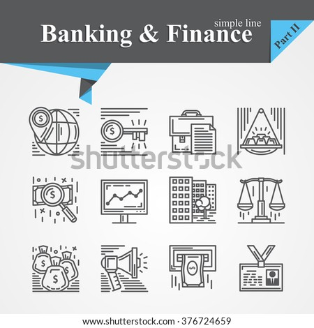 Simple line Banking and Finance icon set,internet payment security,key,online,mobile service,savings,precious metals,internet payment security,savings,cash For apps,websites,developers,designers. - stock vector