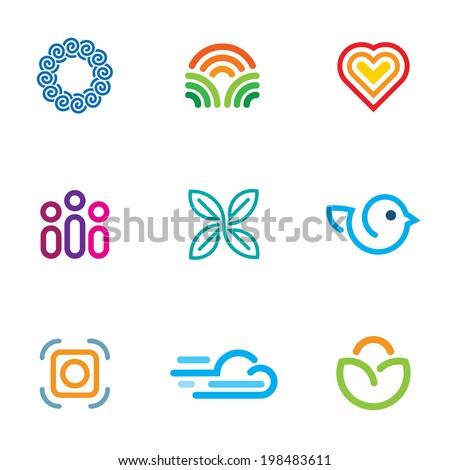 Simple line blog forum community fast download icon logo set - stock vector