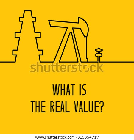 Simple line design of oil pump logo for oil rig, petroleum rig. Equipment for oil research and drilling well isolated over yellow background. Vector illustration.