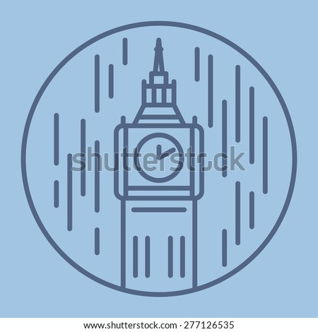 simple line drawn illustration of london big ben tower in rain icon - stock vector