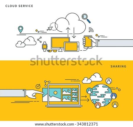 simple line flat design of cloud service & sharing, modern vector illustration - stock vector