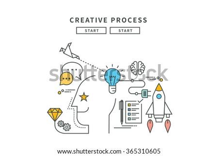 simple line flat design of creative process, modern vector illustration - stock vector