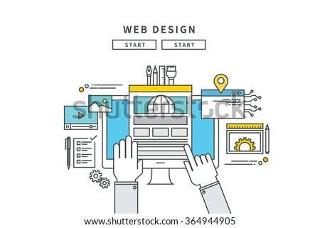 simple line flat design of web design, modern vector illustration - stock vector