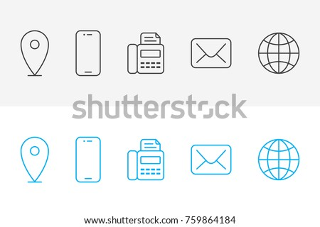 Simple line icons contact information quality stock vector royalty simple line icons of contact information quality symbols and sign web collection business card reheart Images