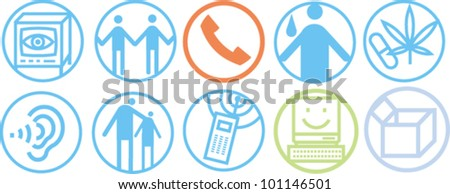 Simple line icons to illustrate various communication concepts - stock vector