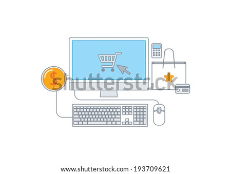 Simple line illustration of a modern shopping concept set - stock vector