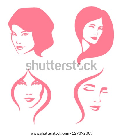 simple line illustration of beautiful women suitable for hair care or beauty salon - stock vector