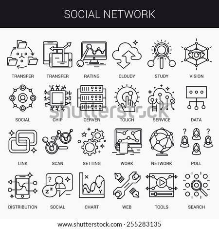 Simple linear icons in a modern style flat. The Social Network. Isolated on white background. - stock vector