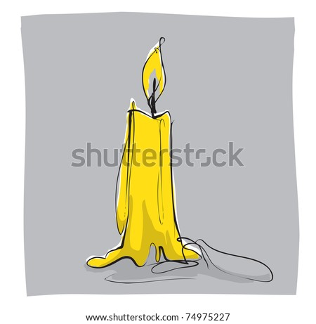 simple linear illustration of candle - stock vector