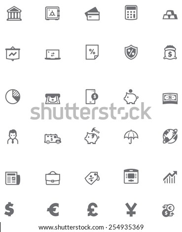Simple linear Vector icon set representing banking symbols, objects, bank equipment and tools - stock vector