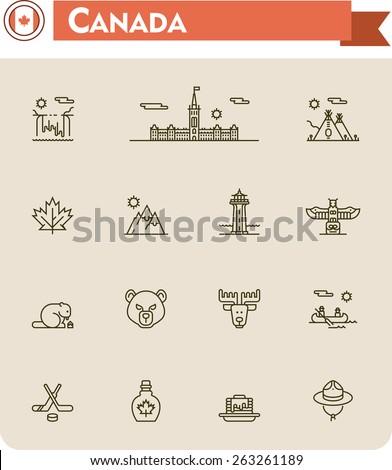 Simple linear Vector icon set representing Canada travel destinations and culture symbols - stock vector