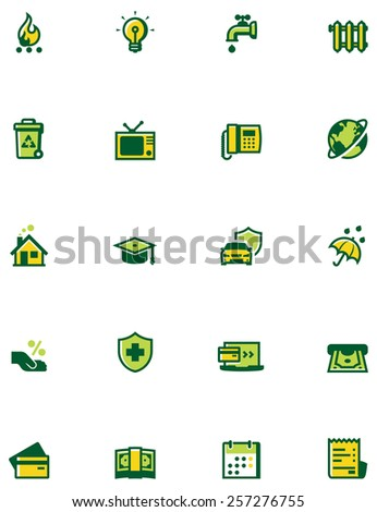 Simple linear Vector icon set representing paying domestic bills
